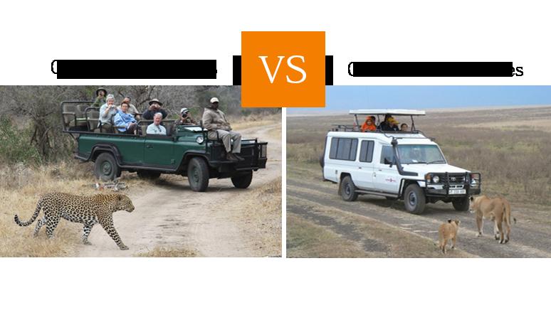 Open safari vehicles and closed safari vehicles