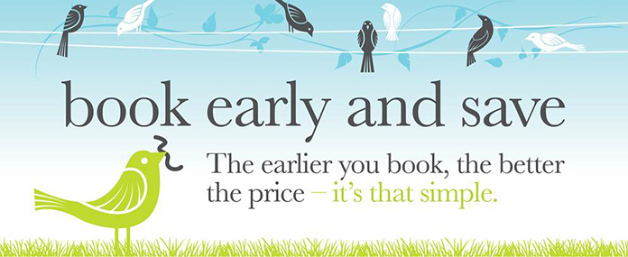 Book early and save money