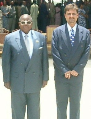 Mustafa Panju with Former President of United Republic of  Tanzania - His Excellency Benjamin William Mkapa