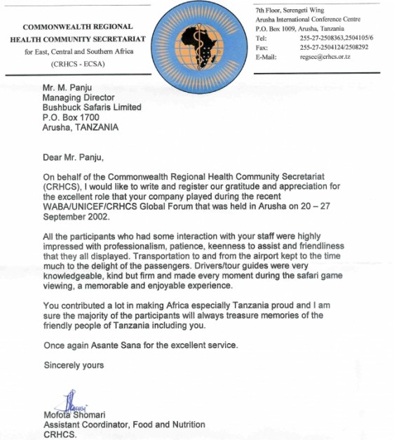Letters Of Recommendation For Bushbuck Safaris Ltd